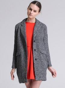 Grey Long Sleeve Notch Lapel Pockets Coat