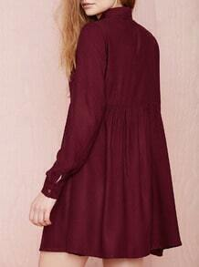 Wine Red Burgundy Long Sleeve Lapel Pleated Dress