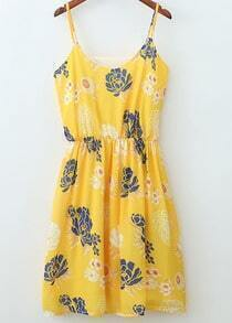 Yellow Spaghetti Strap Floral Pleated Dress