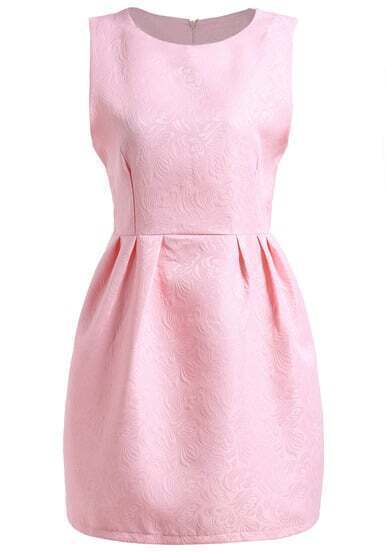 Pink Round Neck Sleeveless Jacquard Dress