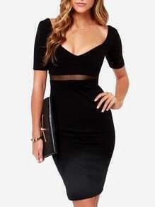 Black Short Sleeve Contrast Mesh Yoke Sheath Dress