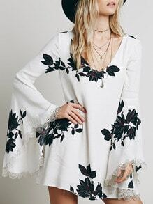 White Long Sleeve Leaves Print Dress