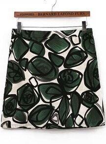 Green Floral Zipper Slim Skirt
