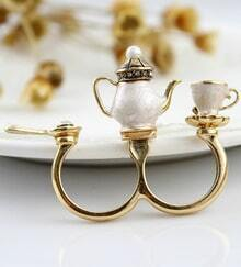 Teapot Cup Spoon Crystal Ring