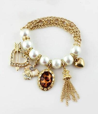Charming Heart Leopard Rhinestone Imitation Bead Multielement Bracelet
