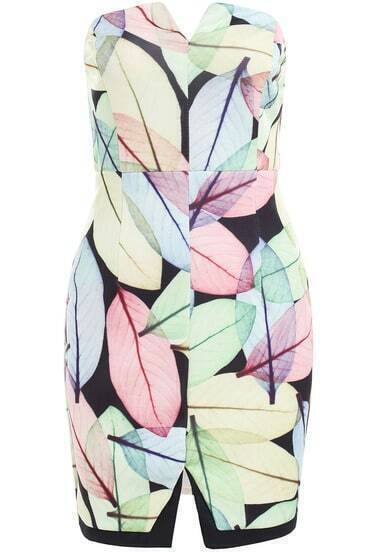 Multicolor Strapless Leaves Print Bodycon Dress