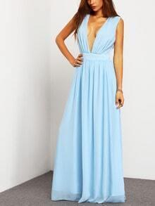 Blue Deep V Neck Backless Maxi Dress