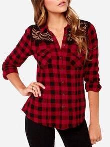 Red Long Sleeve Lace Shoulder Plaid Blouse