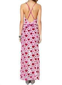 Rose Red Criss Cross Back Floral Split Dress