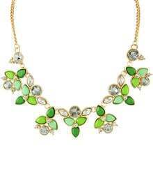 Green Gemstone Gold Leaves Chain Necklace