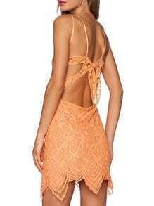 Orange Spaghetti Strap Bow Lace Dress