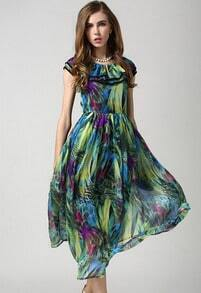 Multicolor Sleeveless Dyed Vintage Floral Chiffon Dress