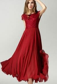 Red Short Sleeve Lace Bohemia Chiffon Dress