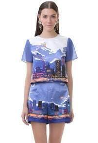 Purple Short Sleeve City Print Crop Top With Shorts