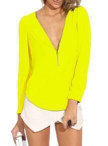 Neon Yellow V Neck Long Sleeve Zipper Top