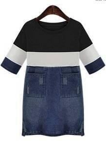 Black Contrast Denim With Pockets Dress
