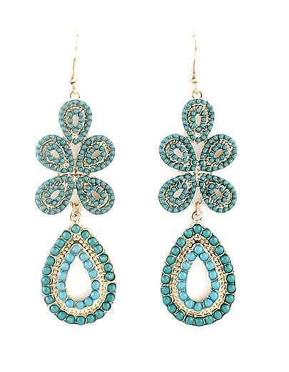 Green Gemstone Gold Dangle Earrings