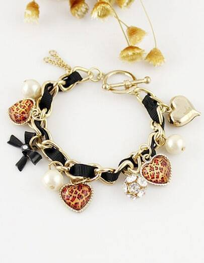 Leopard Heart Bowknot And Bead Multi-elements Bracelet