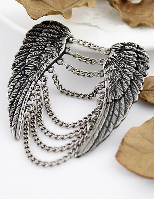 Hot Sale Alloy Tassels Wing Brooch
