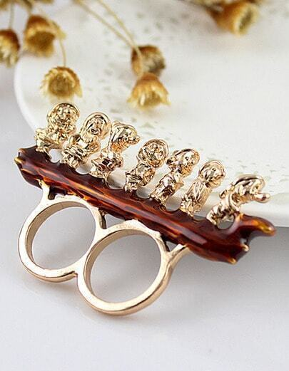 Gold Seven Dwarfs Two Finger Ring