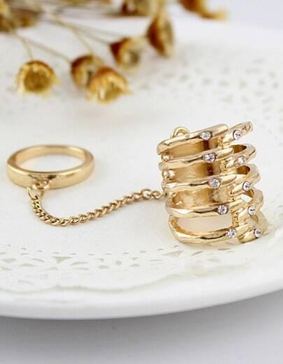 Chain Ehinestone Antique Ring