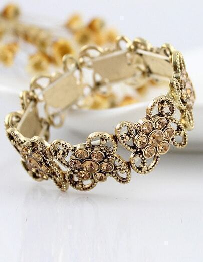 Gold Crystal Hollow Out Bracelet