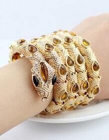 Gold Yellow Gemstone Coiled Snake Bracelet
