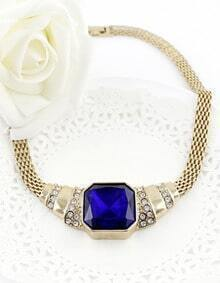Blue Gemstone Gold Crystal Chain Necklace