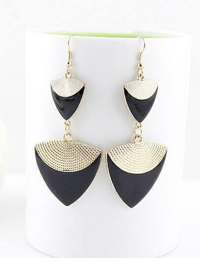 Black Gemstone Gold Triangle Dangle Earrings