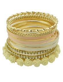 Gold Crystal Flowers Multilayer Bracelet