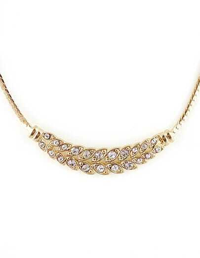 Gold Crystal Leaf Chain Necklace
