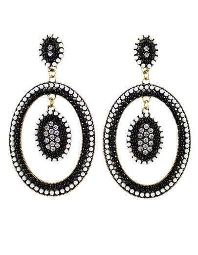 Black Bead Circle Earrings