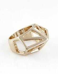 Gold Hollow Geometric Ring