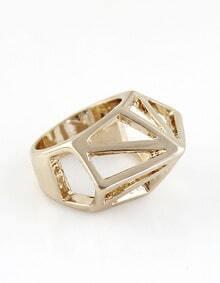 Gold Hollow Geometric Ring