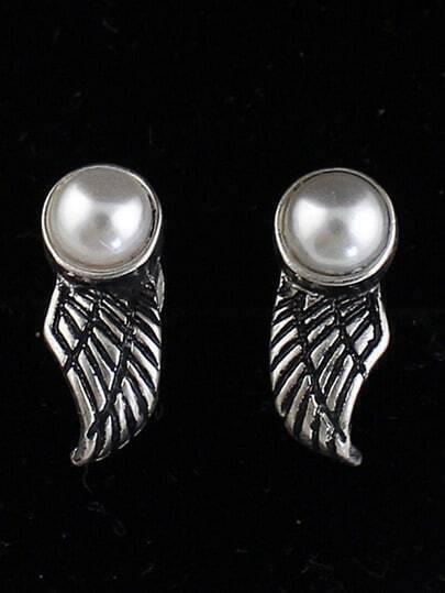 Retro Silver Bead Wing Stud Earrings