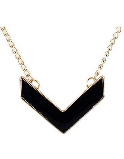 Black Glaze Gold Chain Necklace