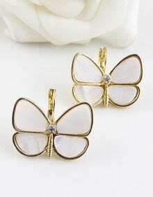 White Gemstone Gold Butterfly Earrings
