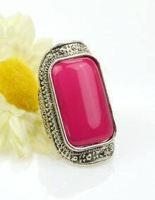 Red Gemstone Silver Ring