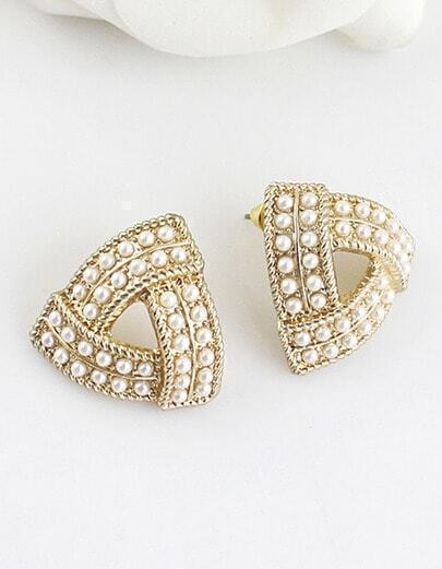 Gold Bead Hollow Triangle Earrings