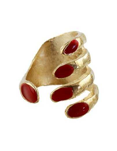 Red Glaze Gold Hand Ring
