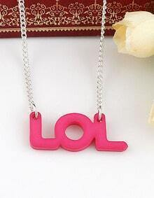 Pink LOL Silver Chain Necklace