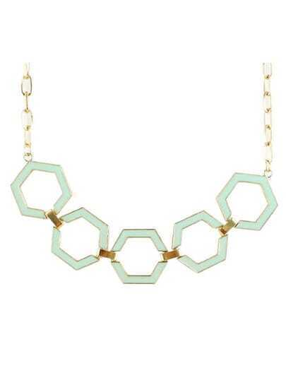 Green Glaze Gold Geometric Chain Necklace