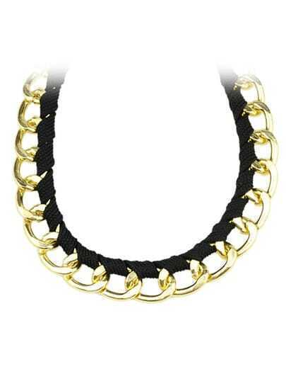 Black Rope Gold Chain Wind Necklace