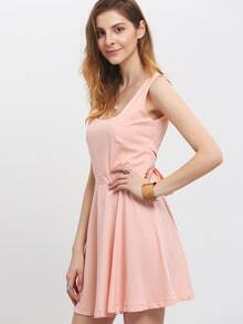 Pink Scoop Neck Backless Bow Flare Dress