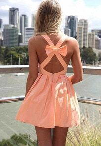 Pink Criss Cross Back Bow Pleated Dress