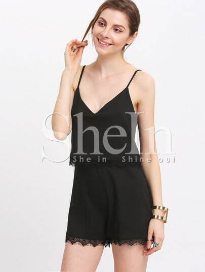 Black Spaghetti Strap With Lace Playsuit