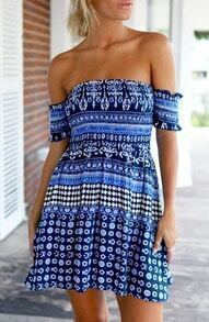 Blue Off The Shoulder Folk Ethnic Charming Nice Bonny Glamour Print Beach Dress