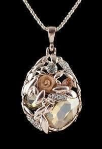 Yellow Gemstone Rose Drop Necklace