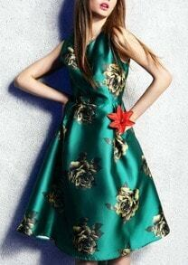 Green Sleeveless Flower Print Patterned Flare Dress