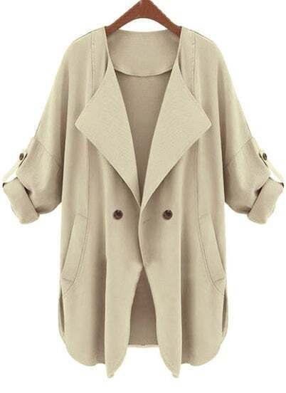 Apricot Long Sleeve Pockets Trench Coat